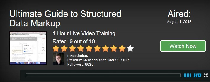 Video  Training Class on Structured Data Markup