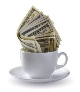 dollars in cup