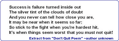 Extract from Don't Quit Poem - unknown author