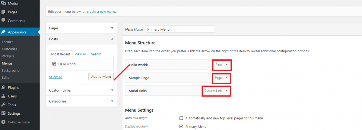 navigation menus in wordpress