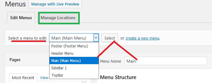 nav menu locations